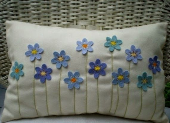 Felt flowers cushion
