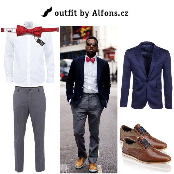 Pánský outfit. Červený motýlek, modrý blazer & bílá košile #men #menstyle #menfashion #blazer #suit #bowtie