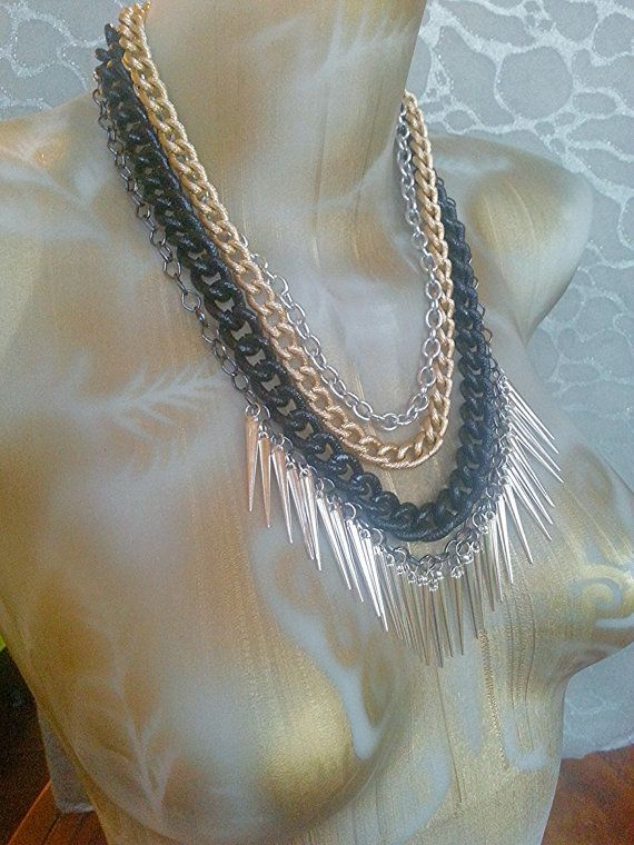Mixed Large Link Chains in Silver Gold Black and Gunmetal with Silver Spike Fringe -chunky 4 layered necklace statement ooak piece by MEDICINAdesigns