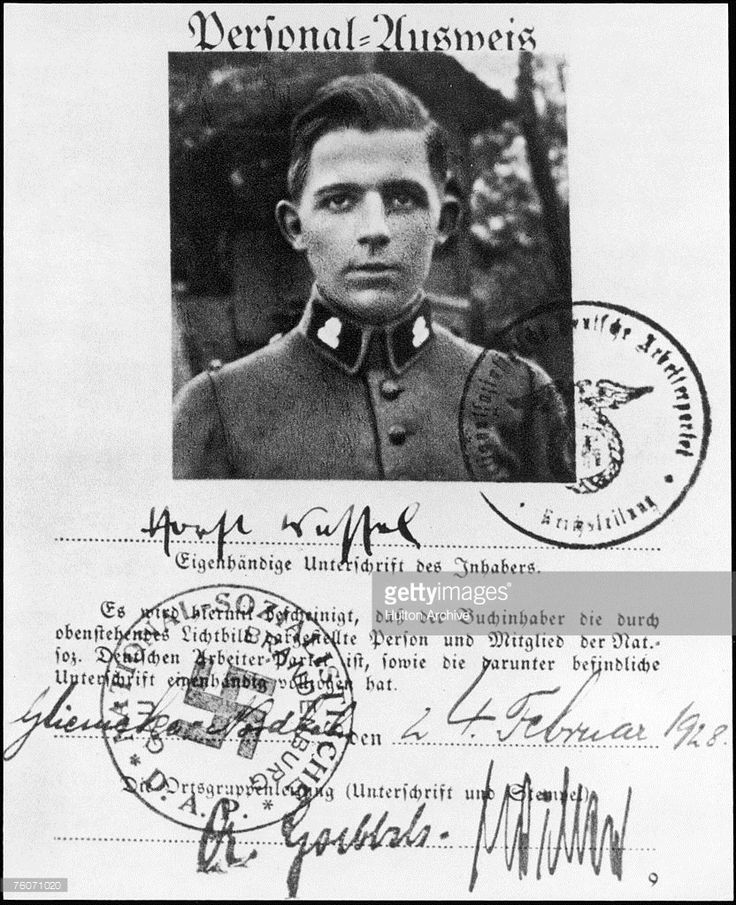 The party membership card of German Nazi activist Horst Wessel (1907 - 1930), dated 24th February 1928. The document is signed by Wessel (centre) and by Berlin regional party leader, or Gauleiter, Joseph Goebbels (bottom, left).