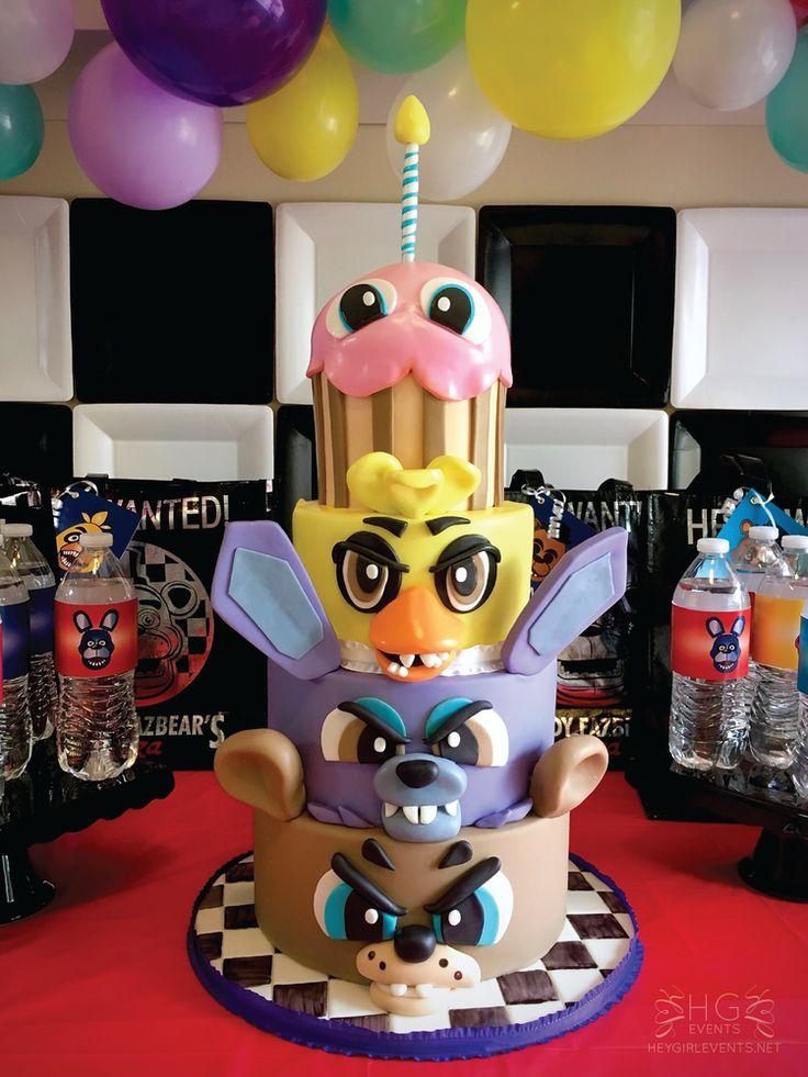 Fun cake at a Five Nights At Freddy's birthday party! See more party ideas at CatchMyParty.com!