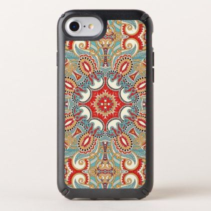 Retro Chic Red Teal Pretty Floral Mosaic Pattern Speck iPhone Case - diy cyo personalize design idea new special custom