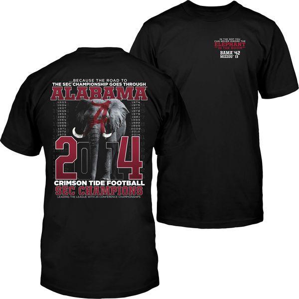 Alabama Crimson Tide 2014 SEC Football Champions Elephant in the Room T-Shirt - Black - $9.99