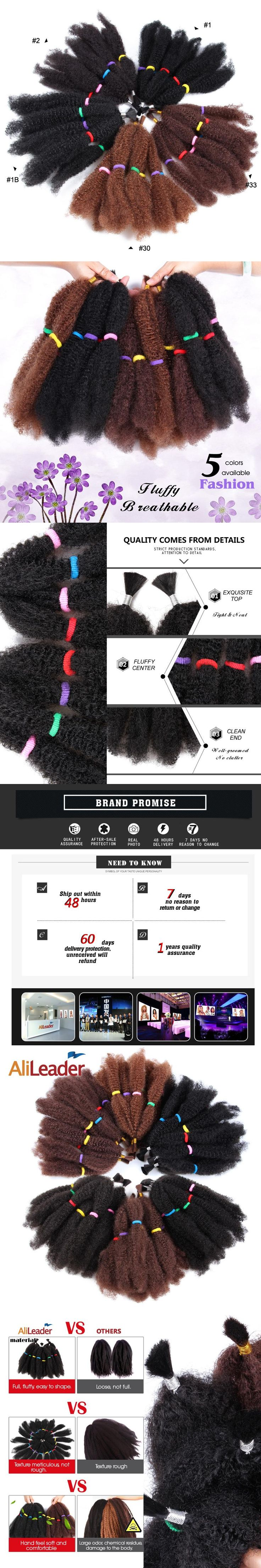 Alileader Collection Afro Extensions Bulk Hair Small Kinky Curly 12 Inch Pure Color Pre Braided Hair Extensions Synthetic Weave