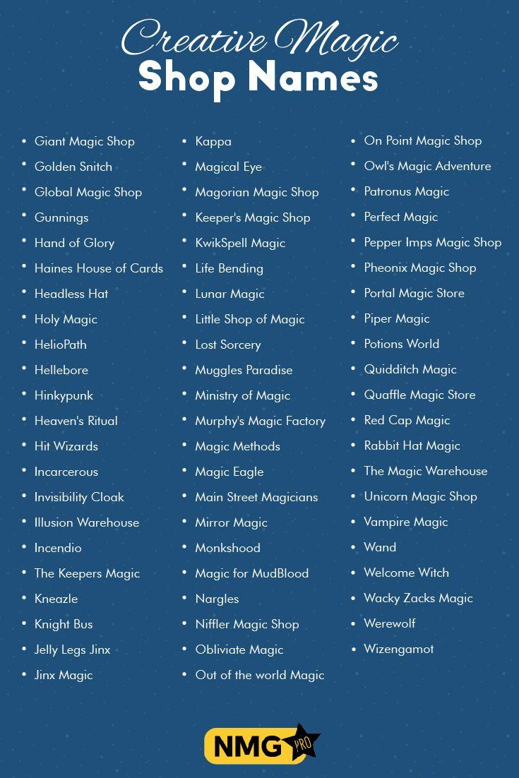 Creative Magic Shop Names Best Magic Store Names Magic Shop Name Generator Name Generator Pro Boutique Names Shop Name Ideas Cute Business Names