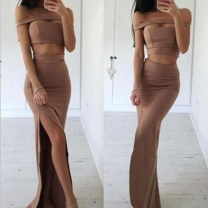 Off the shoulder Sexy Brown Prom Dress with Special Design,Slit Side Evening Dress,Winter Formal Dress,Bodycon Prom Dresses