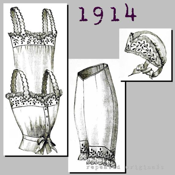 Lingerie for a young lady - Vintage Reproduction PDF Pattern - 1910's -  made from original 1914 La Mode Illustree Pattern