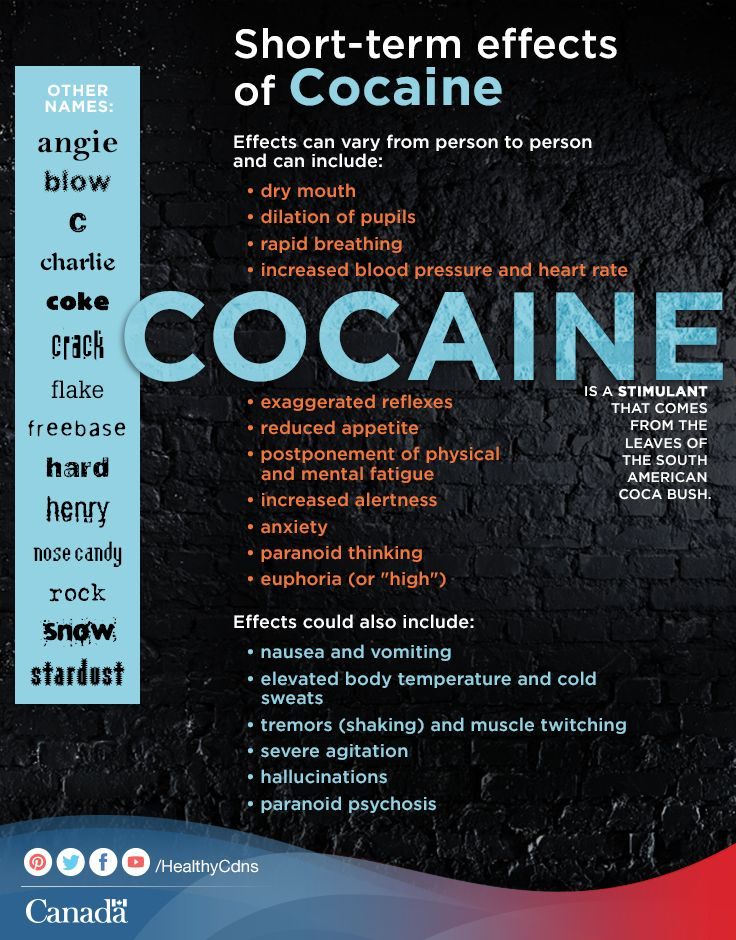 Learn more about the short term effects of cocaine. Think your teen might be experimenting with drugs? Find out more:  http://www.healthycanadians.gc.ca/health-sante/addiction/cocaine-eng.php?utm_source=pinterest_hcdnsutm_medium=socialutm_content=June26_drug_ENutm_campaign=social_media_14