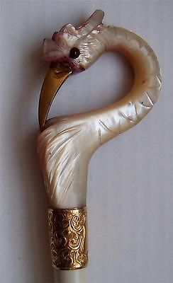 Mother of pearl carved handle vintage parasol beautiful bird gilt mounts