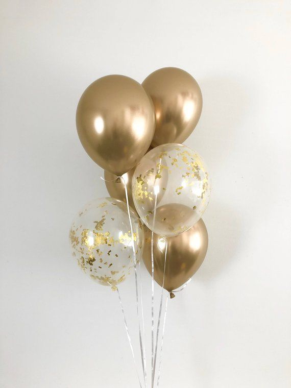 Chrome Gold Balloons Gold Confetti Latex Balloons Gold Party Decor Bridal Shower Graduation Party Bachelorette Party Chrome Balloons