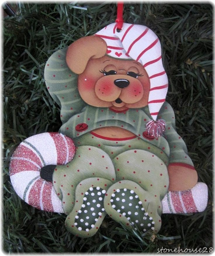 HP TEDDY BEAR Sleepy Bear ORNAMENT #Handpainted