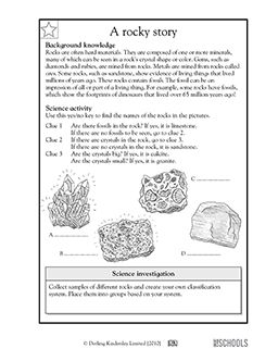 What kind of rock is this? In this science worksheet, your child will follow the clues to determine which types of rocks are shown.