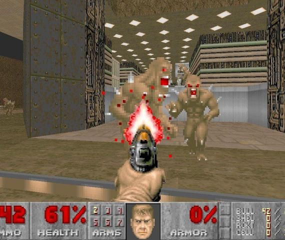 Doom. I had a demo of this on my computer and played it all the time. Also had an NES emulator but I prefer playing via a cartridge these days.