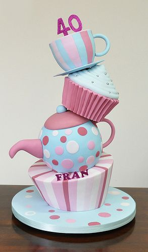 Tea party cake with tea pot and tea cup ... and cupcake ... all topsy turvy. LOVE THIS!!!! Just may have to get this done with a 3 on top :)