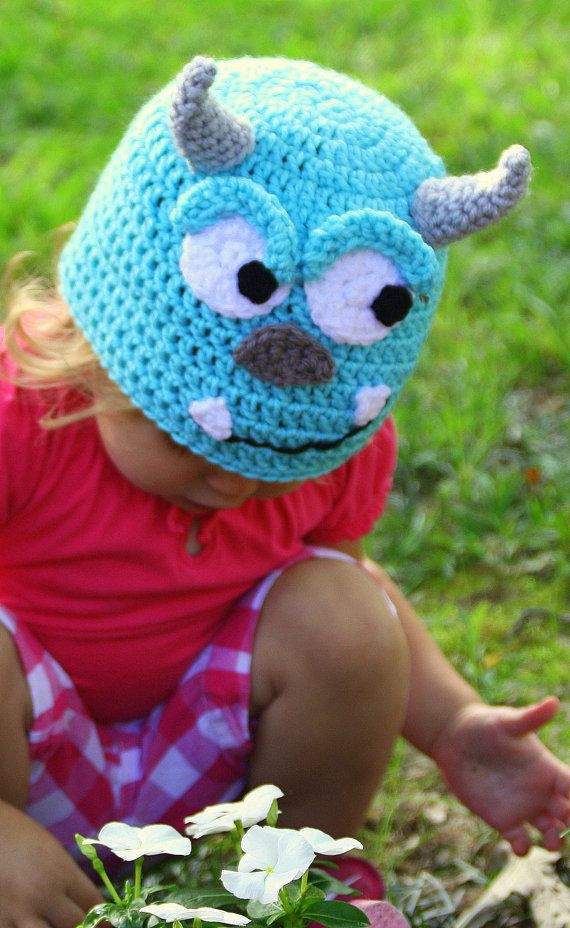 Sully Crochet hat from Monsters Inc, Monsters University, sizes Newborn, 3-6 m, 6-12m, 1-2T, 2t and up, and Adult, Halloween costume