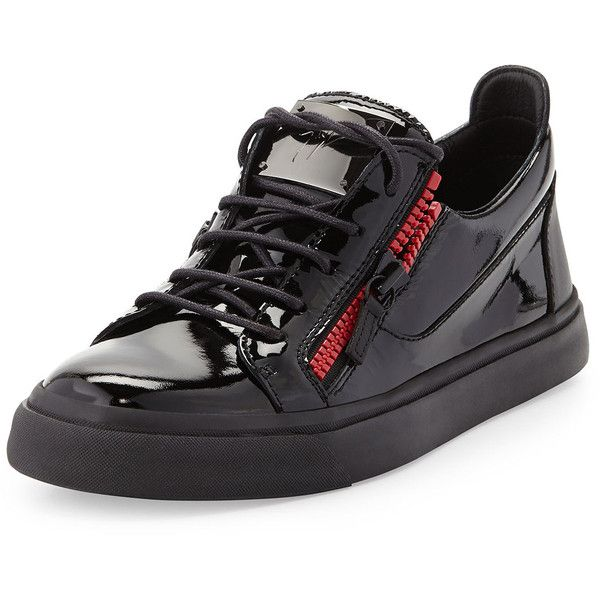 Giuseppe Zanotti Men's Patent Double-Zip Low-Top Sneaker ($685) ❤ liked on Polyvore featuring men's fashion, men's shoes, men's sneakers, black, mens lace up shoes, mens patent shoes, mens black patent leather shoes, mens black patent leather sneakers and mens low top basketball shoes