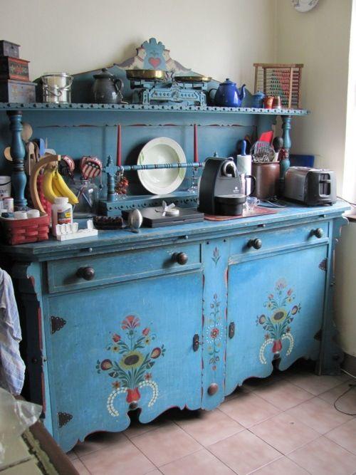 Blue Painted Antique Pensylvania Dutch Folk Art Kitchen Cupboard