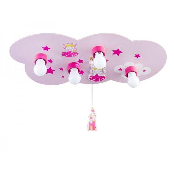 Plafón infantil Princesa, especial para las niñas de casa. 4 luces. Decorada con princesas y estrellas. Se enciende de un cordón colgante con forma de castillo.