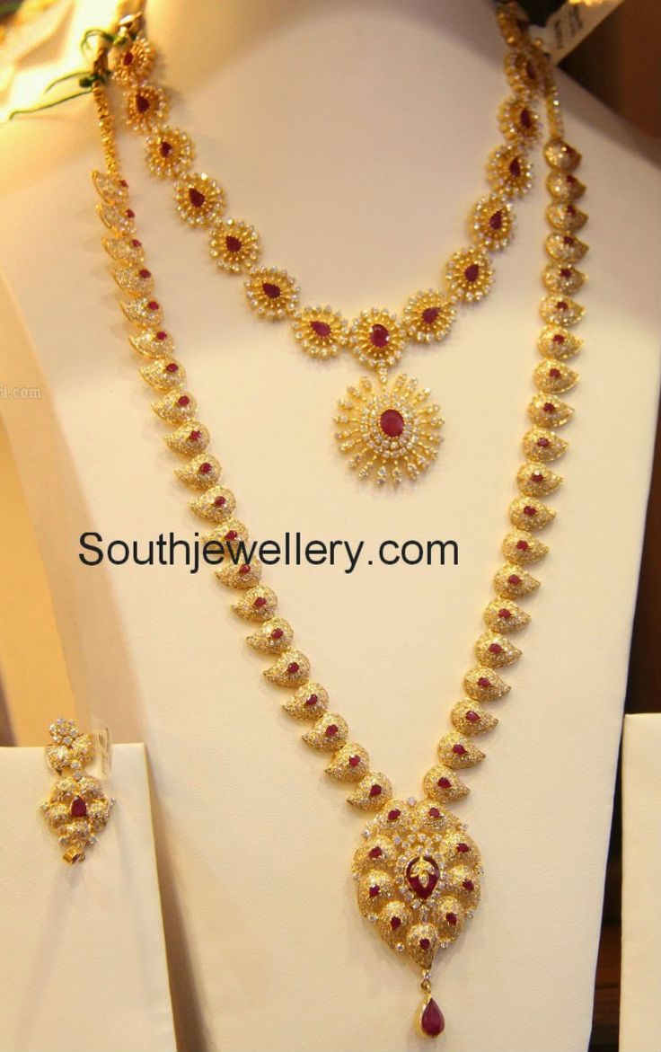 Pai jewellers gold necklace designs latest indian jewellery designs - Jewellery Designs Cz Mango Mala And Short Necklace