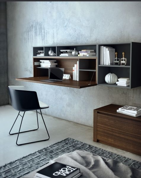 Mueble escritorio de madera de eucalipto combinada con laca Gris Antracita.