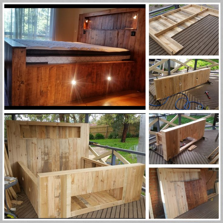 King Size Pallet Bed With Storage Amp Lights Pallet Ideas