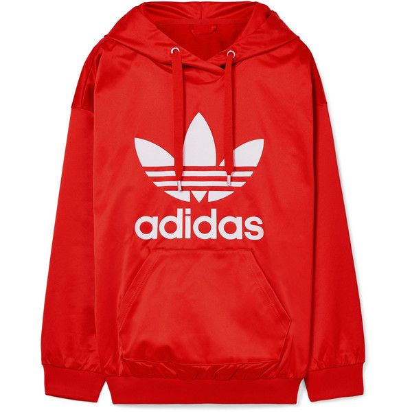 adidas Originals Trefoil printed satin-jersey hooded top (955.710 IDR) ❤ liked on Polyvore featuring tops, hoodies, adidas, jackets, sweaters, red, trefoil hoodie, hooded top, hooded hoodie and 80s tops