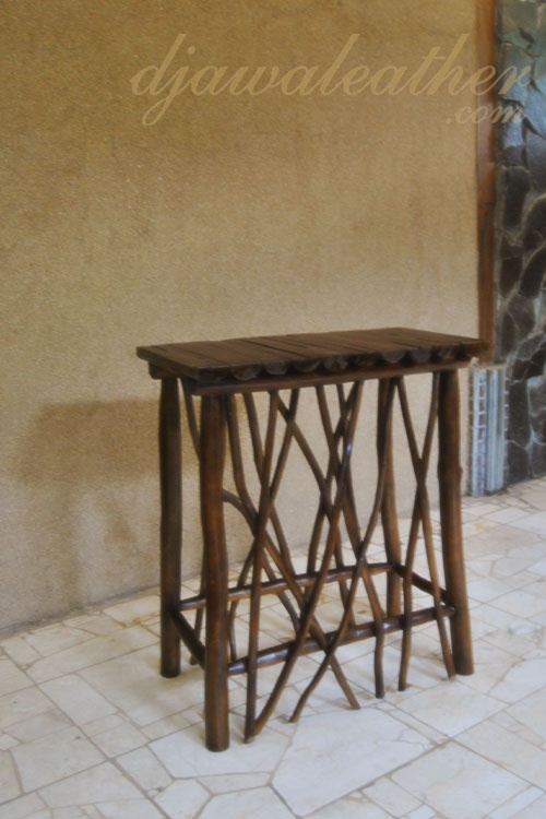 Halona teak logs accent table