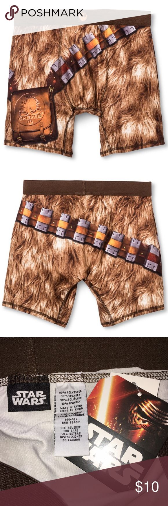Sz L - Men's Star Wars Boxer Briefs Brand new with tag, 100% polyester. Size L - for waist size 36-38. Mid-rise elastic waistband down to mid thigh. Star Wars Underwear & Socks Boxer Briefs