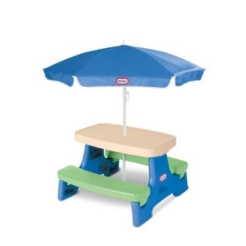 Little Tikes Picnic Table with Umbrella - Easy store Picnic Table, Blue/Green #LittleTikesPicnicTable