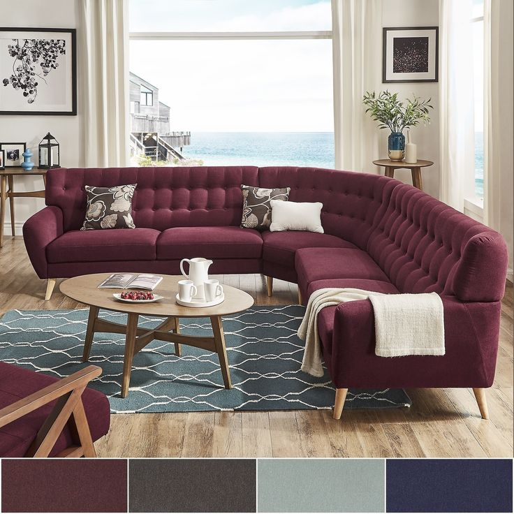Niels Danish Modern Tufted Fabric 7-seat L-Shaped Sectional by MID-Century Living (Tawny Port Red), Natural