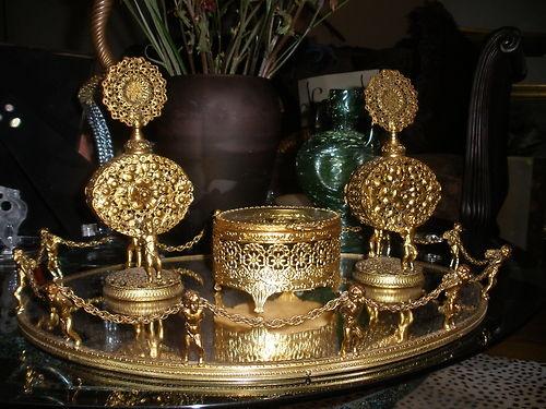 Antique Vanity Mirror Tray 2 Perfume Bottle Box Set