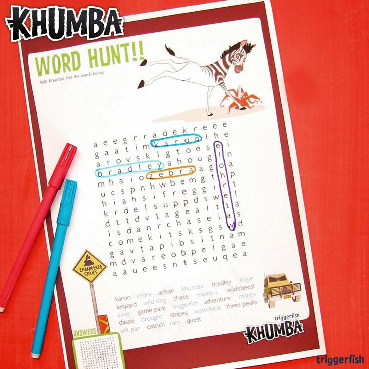 "Hey Khumba kids, Bored in the holidays?? Why not try this FUN word hunt activity?  Download on the website: www.khumbamovie.com  Miss the big news? More Khumba entertainment is coming your way soon! ;)  Catch the Walmart DVD exclusive in Mid January,  PLUS ""KHUMBA the GAME"" & an ALL NEW ""GONG ROCKER"" APP  #KhumbaMOVIE #KhumbaGAMES"
