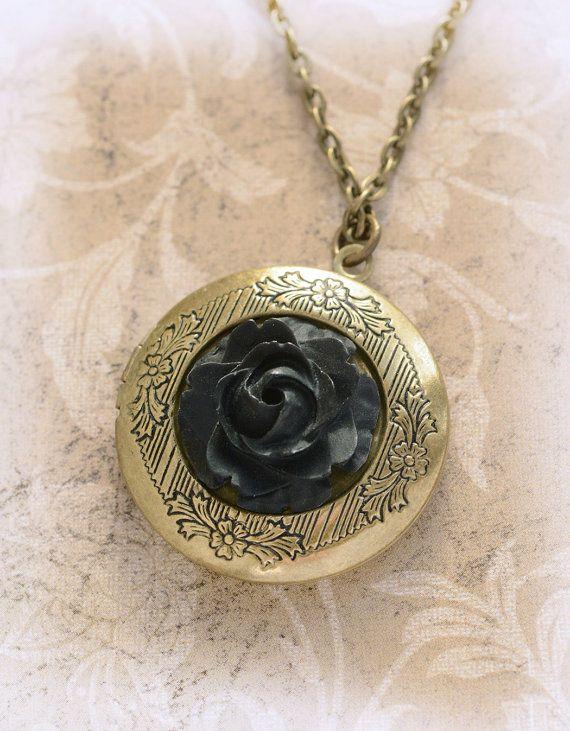 Black Rose Gold Locket Antique Locket Jewelry by LimonBijoux
