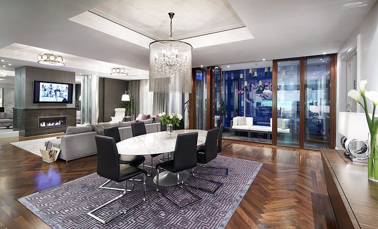 Living space of the lavish condominium that reflects the opulence of Ritz-Carlton