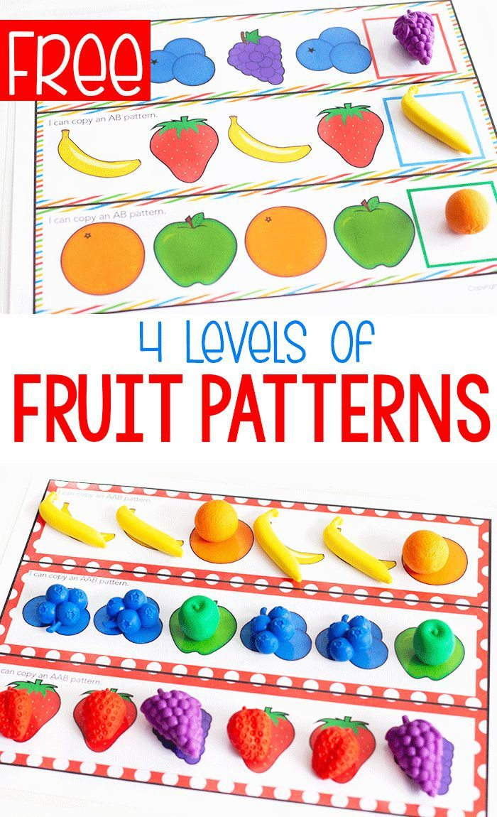 Free Printable Fruit Themed Pattern Activity Pattern Activities