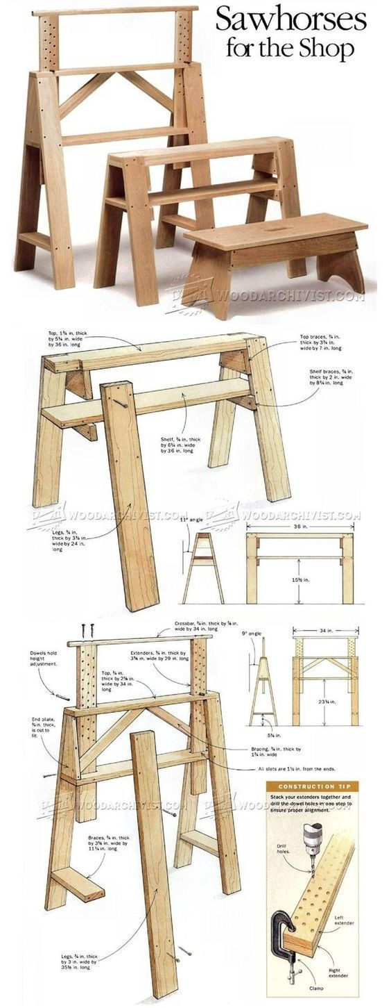 Sawhorses for The Shop - Workshop Solutions Plans, Tips and Tricks | WoodArchivist.com #woodworkingbench #WoodworkingPlans