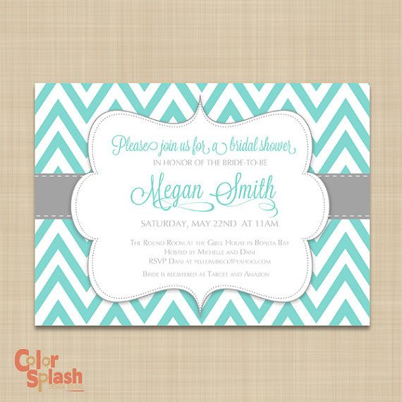 Chevron Bridal Shower Invitation - Tiffany Blue Chevron ...