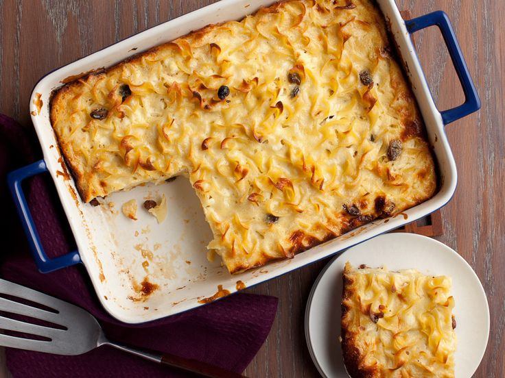 Noodle Kugel Recipe : Dave Lieberman : Food Network - FoodNetwork.com (Notes: Substituted 1 cup of Applesauce in place of 1 of the cups of sour cream. Halved the sugar. Very tasty, custard-y kugel. Maybe next time add a little more cinnamon and even some apple chunks.)