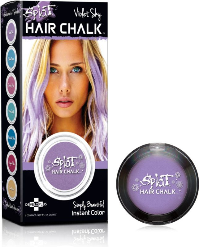 Splat Hair Chalk is temporary hair color for a day, a beautiful way to add pastel color highlights to your hair. The chalk slides on dry and instantly adds just the right touch of color. - perfect for Halloween!