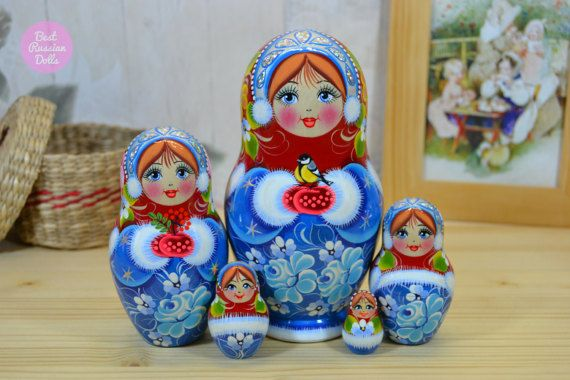 Designer nesting doll in blue and red dress, Wooden Russian matryoshka with yellow bird, Gift for women, Folk art, Gift ideas for mom