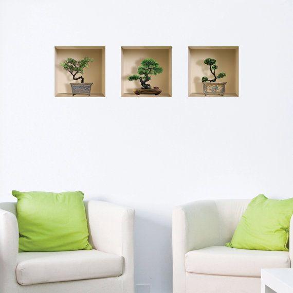 set 3 bonsai wall stickers 3d art magic niche picture removable vinyl modern home decor tile. Black Bedroom Furniture Sets. Home Design Ideas