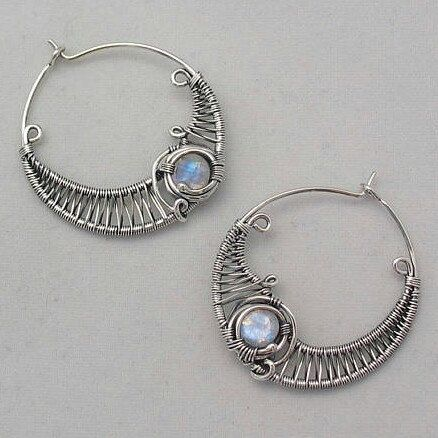 Rainbow Moonstone hoops wire wrapped earrings