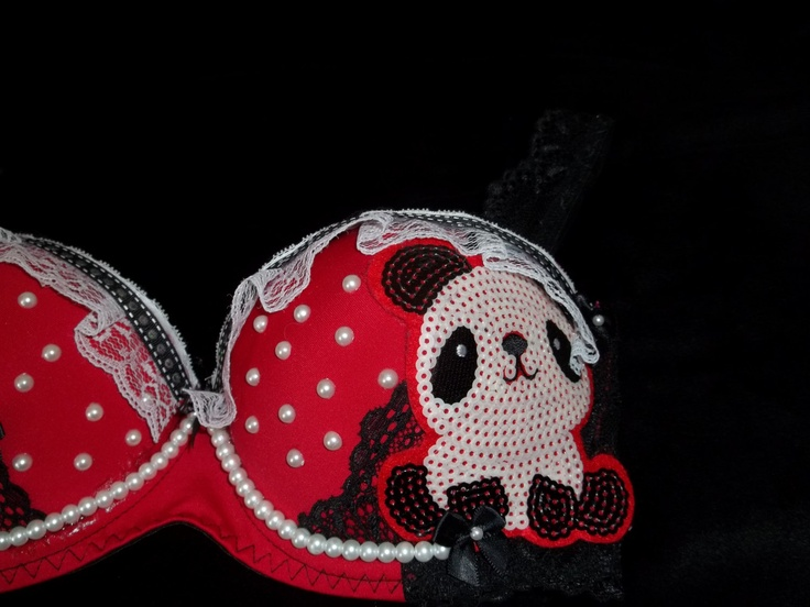 red and black panda bra. | Bedazzle your bras ladies ...