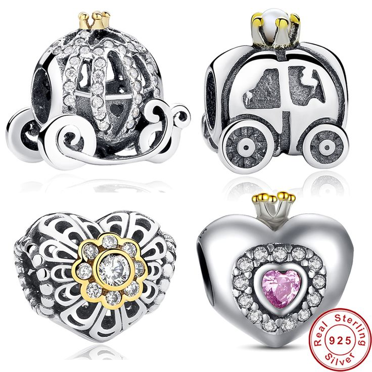 925 Sterling Silver & Gold Pumpkin Car Love Heart Wing Eight  Style Beads Fit Original Pandora Charm Bracelet DIY Jewelry