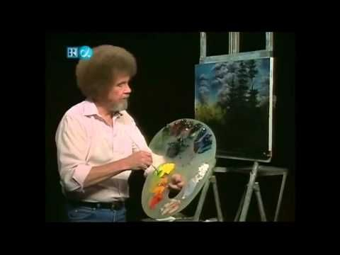 Bob Ross: painting a wilderness cabin...listening to Bob speak was like taking a tranquilizer--- what a gentle man.   Smoosh, moosh, moosh....