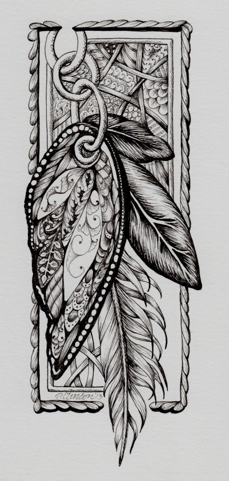 Zentangle by P Clinton, Butterfly Feather Flutters