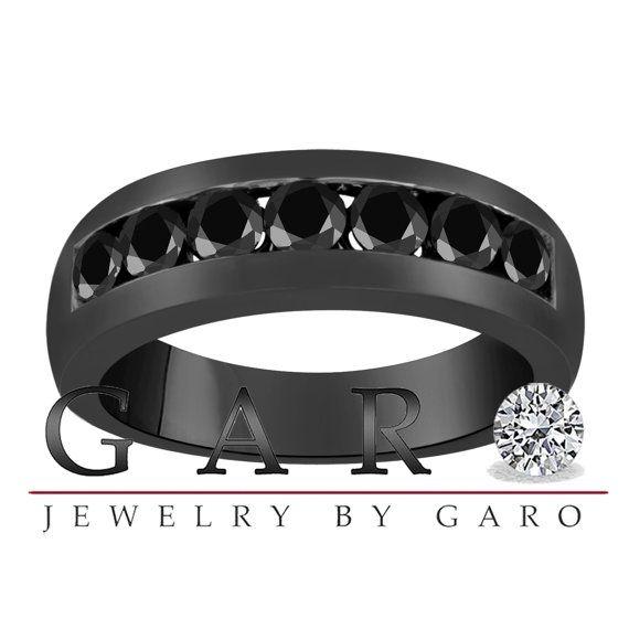 Mens 1.00 Carat Vintage Style 14K Black Gold 7 by JewelryByGaro
