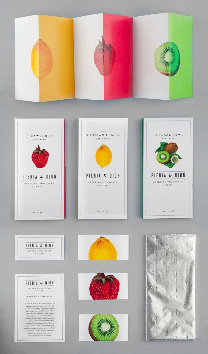 Packaging design for fictional artesian chocolate company Pieria & Dion.  School of Visual Arts