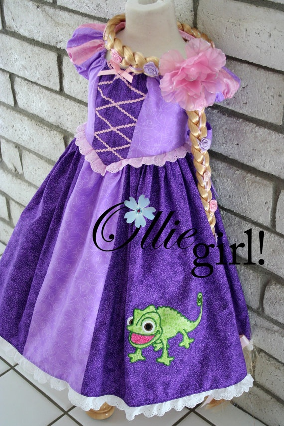 Calico Princess Rapunzel and Pascal peasant by boutiqueolliegirl - I wish I had the skill to create something like this for my daughter!