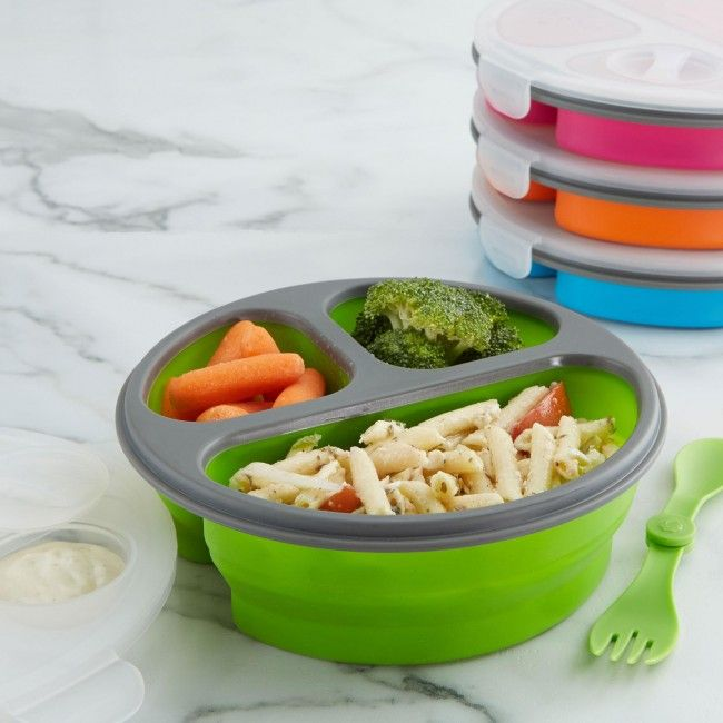 Take your lunch on the go and take up less space when not in use with our Lunch Pop Silicone Food Container! Lunch Pop containers are made of food safe silicone that features separate compartments for easy transportation. When not in use, Lunch Pop containers collapse for easy storage!